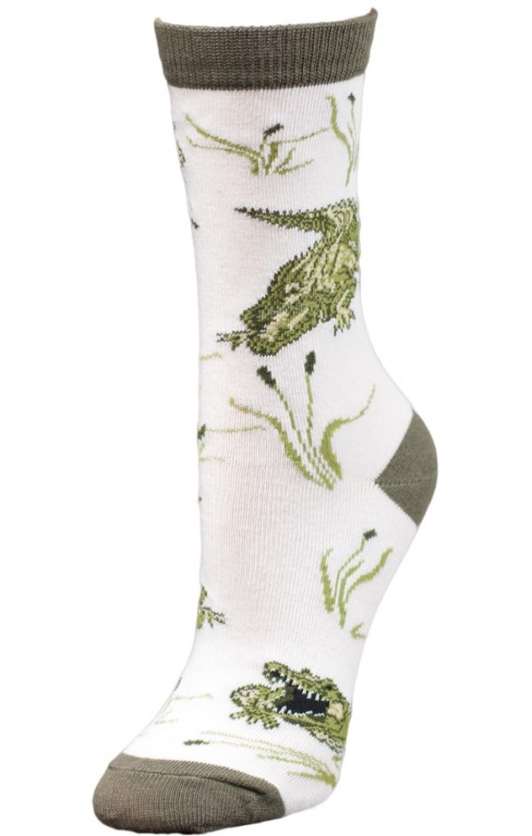 Happy Gator Wild Habitat Unisex Crew Socks Side View