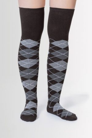 Black & Grey Argyle Over the Knee Socks