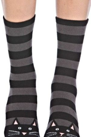 Black Cat Stripe Foot Traffic Slipper Socks Non-Skid New Women Size 9-11 Fashion