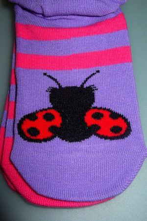 Lady Bug Stripe K Bell Youth No-Show Socks 2-Pr Pkg