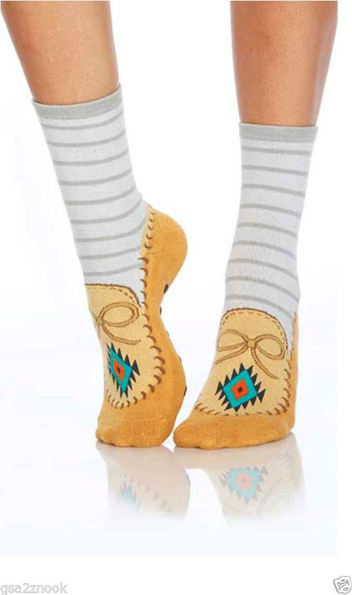 Moccasin with Anklet Foot Traffic Slipper Socks Non-Skid