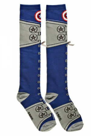 Captain America Civil War Suit Lace Up Knee High Socks Flat