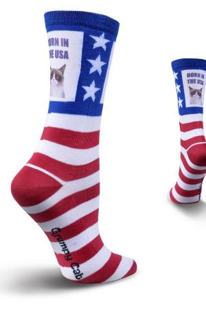 Grumpy Cat® Born in the USA K Bell Crew Socks