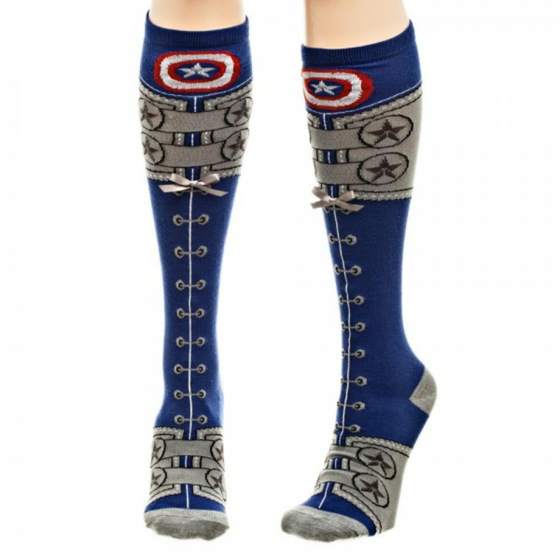 Captain America Civil War Suit Lace Up Knee High Socks