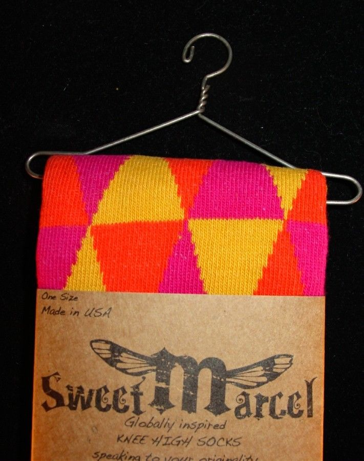 Orange Chloe Sweet Marcel Knee High Socks Detail