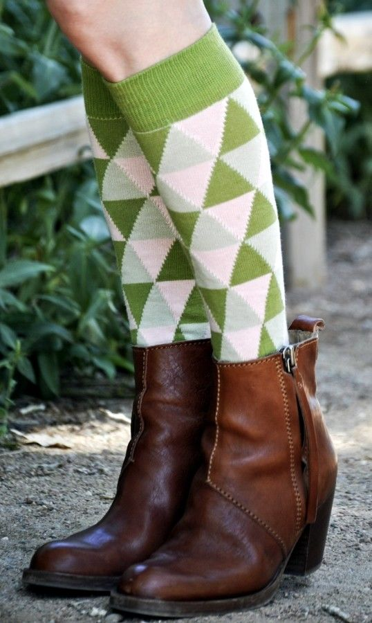 Green Chloe Sweet Marcel Knee High Socks