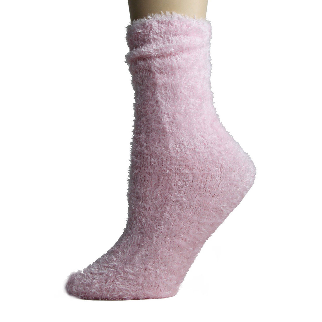 Fuzzy Foot Traffic Microfiber Non-Skid Socks Pink
