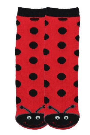 Ladybug K Bell Kid Tube Non-Skid Slipper Socks