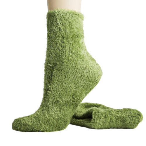 Fuzzy Foot Traffic Microfiber Socks Olive