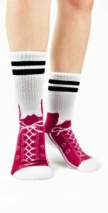 Pink Sneaker Foot Traffic Non-Skid Slipper Sock