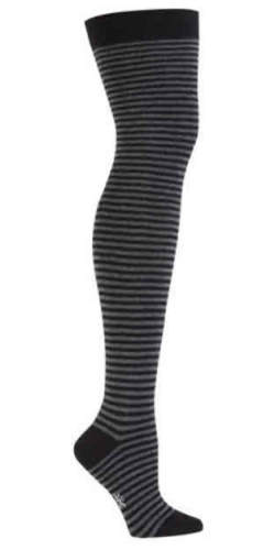 Black & Charcoal Thin Stripe Over the Knee Socks