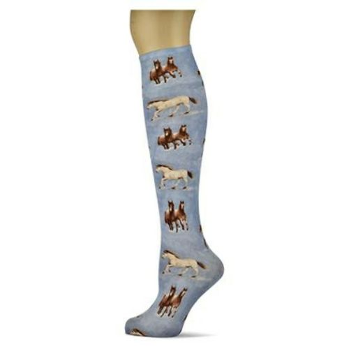 Denim Horses Sox Trot Thin Knee High