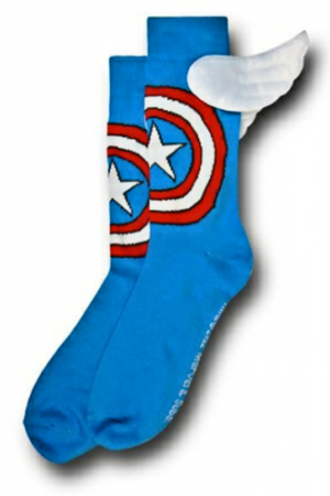 Captain America Crew Socks With Wings Flat