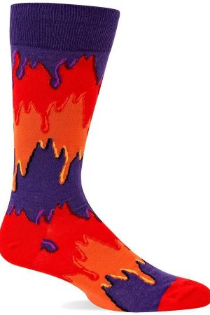 Dripping Paint Stripe Hot Sox Dress Crew Socks