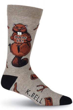 Beaver Dam It! K Bell Dress Crew Socks Brown
