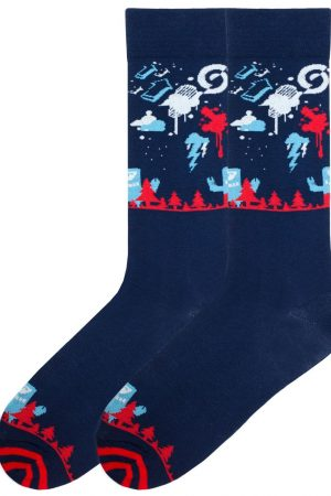 Tree Beast K Bell Dress Crew Socks Navy