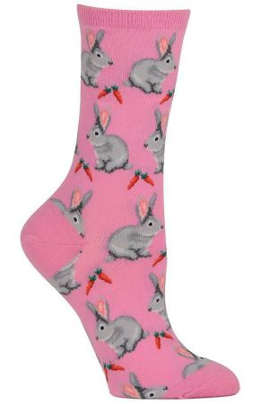 Rabbits Hot Sox Trouser Crew Socks Pastel Pink