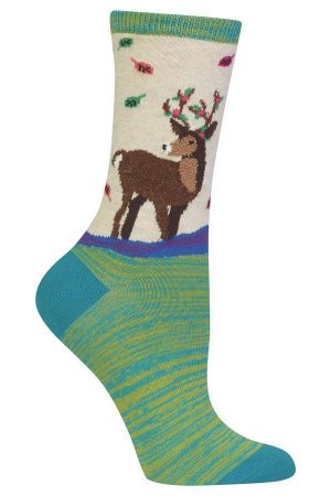 Festive Deer Hot Sox Trouser Crew Socks Hemp
