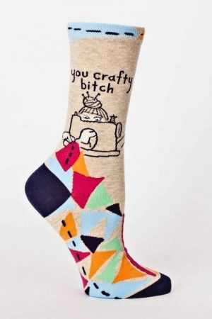 You Crafty B*itch Blue-Q Trouser Crew Socks