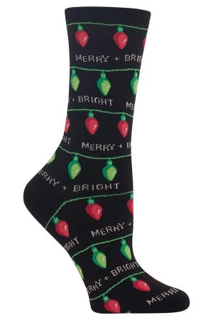 Christmas Lights Hot Sox Trouser Crew Socks