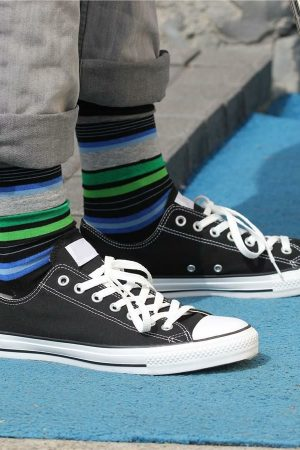 Random Stripes K Bell Dress Crew Socks