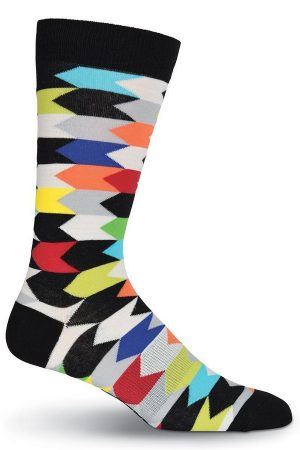 Chevron Stripes K Bell Dress Crew Socks Rainbow