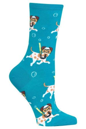 Snorkeling Dogs Hot Sox Trouser Turquoise Crew Socks