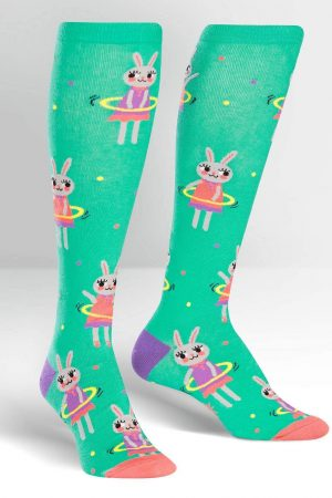 Hula Hooping Bunnies Knee High Socks