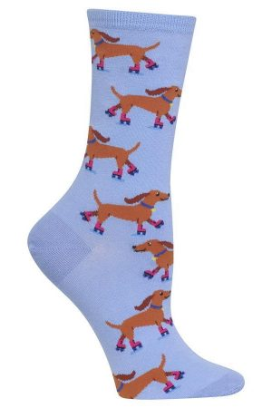 Rollerskating Dogs Hot Sox Trouser Crew Socks