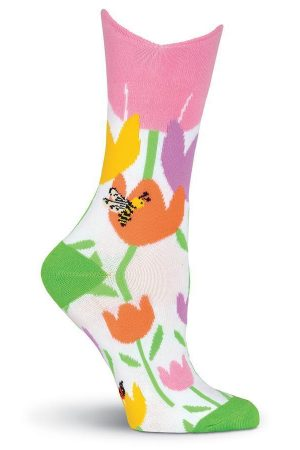 Tulips & Bumble Bee K Bell Crew Socks
