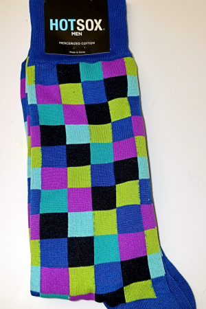 Colorful Checks Hot Sox Dress Crew Sock Blue