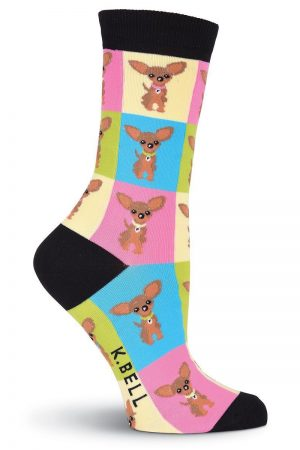Chihuahua Dog Squares K Bell Trouser Crew Socks