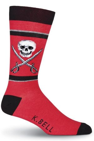 Skull & Swords K Bell Crew Socks Red
