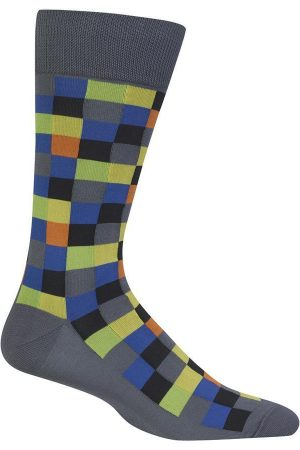 Colorful Checks Hot Sox Men's Dress Crew Socks Dark Grey