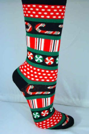 Peppermint Stripe Candy Hot Sox Crew Socks Black