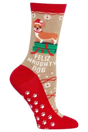 Feliz Naughty Dog Hot Sox Non-Skid Crew Socks Hemp