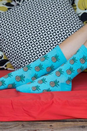 Pineapple K Bell Crew Socks Relax Top Women's Extended Size