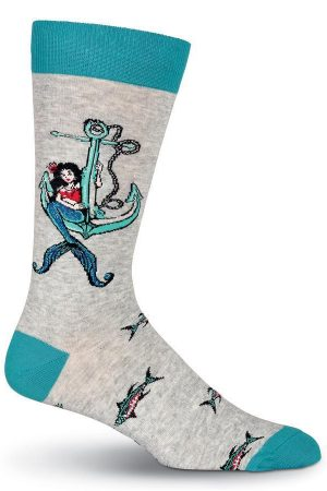 Nauti Mermaid K Bell Dress Crew Socks Gray Heather