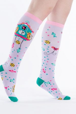 Cat Cuckoo Clock Knee High Socks