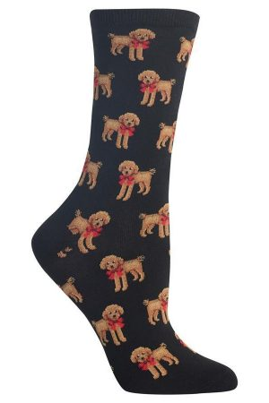 Poodle & Bow Hot Sox Trouser Crew Socks Black