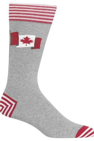Canadian Flag Hot Sox Dress Crew Socks Grey