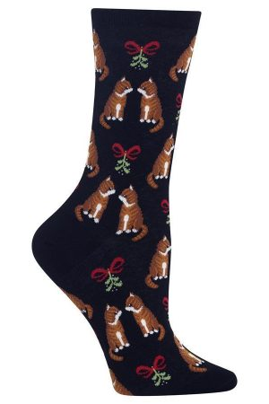 Festive Tabby Cats Hot Sox Crew Socks Black