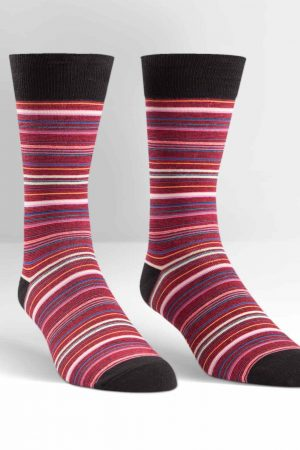 Thin Stripes Dress Crew Socks Red