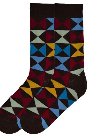 Triangle Squares K Bell Dress Crew Socks Brown