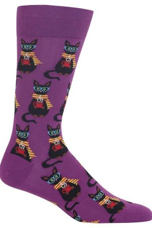 Coffee Cat Hot Sox Dress Crew Socks Purple