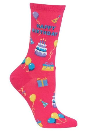 Happy Birthday Hot Sox Trouser Crew Socks Hot Pink