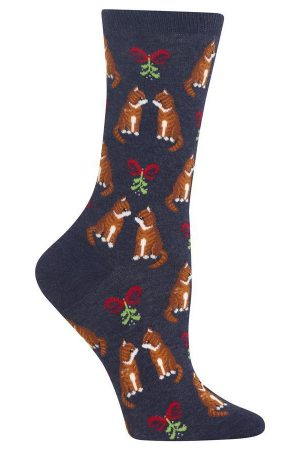 Festive Tabby Cats Hot Sox Trouser Crew Socks Denim