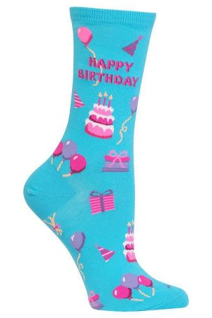 Happy Birthday Hot Sox Trouser Crew Socks Lt Blue