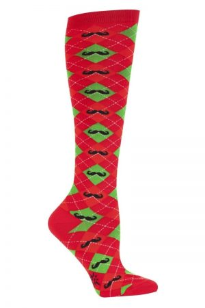 Merry Mustache Argyle Knee High Socks