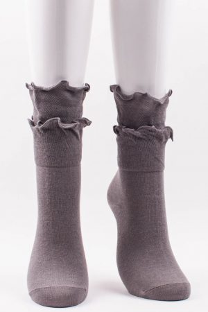 Double Ruffles Trouser Crew Socks Middle Grey